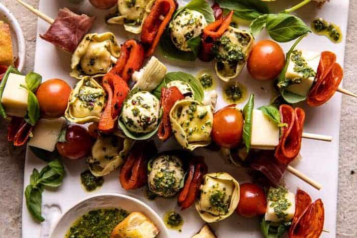 Antipasto Tortellini Skewers with Lemon Basil Vinaigrette | halfbakedharvest.com