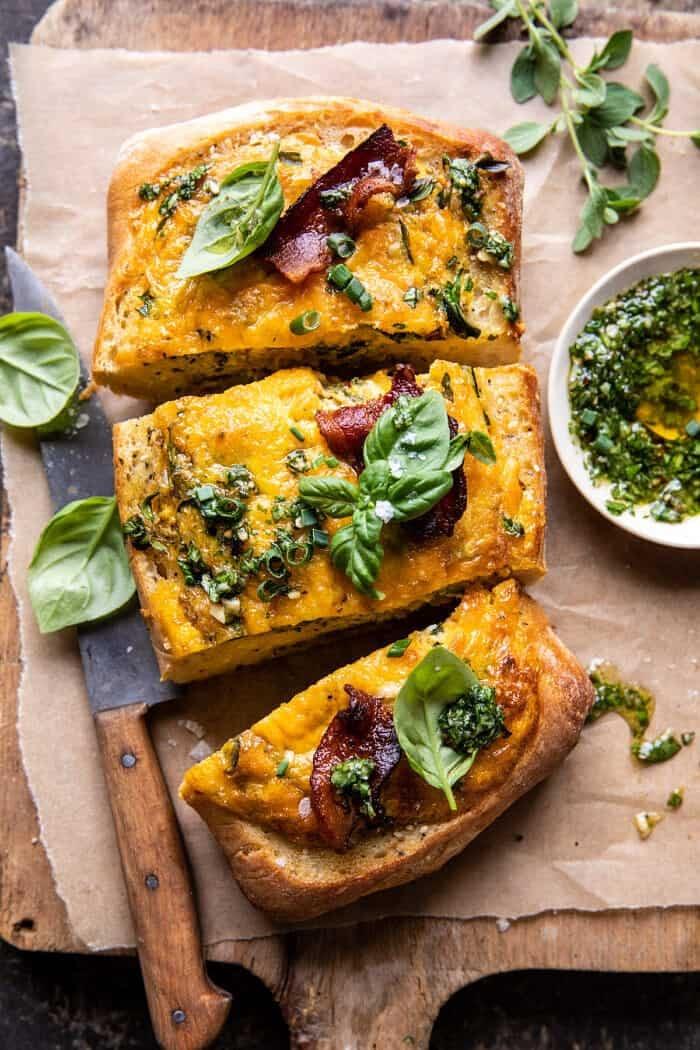 Baked Cheddar Pesto Egg Boats | halfbakedharvest.com