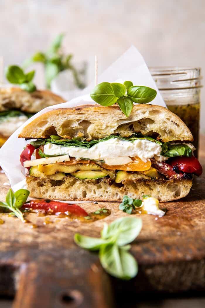 Grilled Vegetable Burrata Sandwich with Lemon Thyme Honey Mustard | halfbakedharvest.com