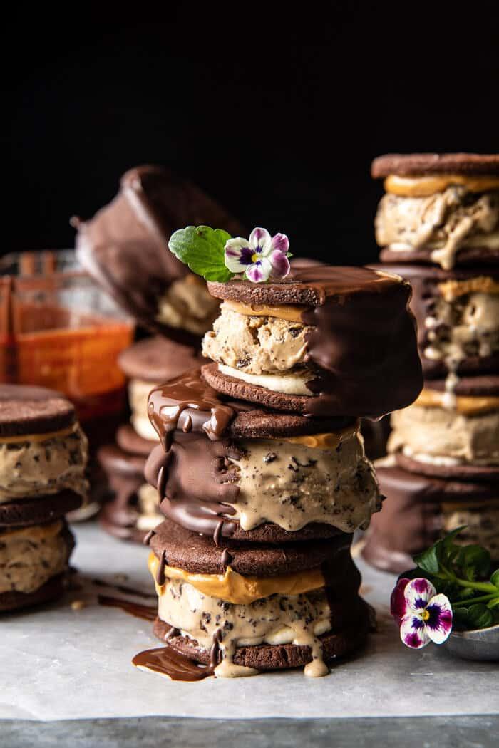 Peanut Butter Mocha Oreo Ice Cream Sandwiches | halfbakedharvest.com