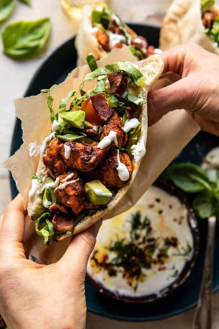 Rosemary Chicken and Avocado Bacon Pitas with Honey Feta Sauce | halfbakedharvest.com