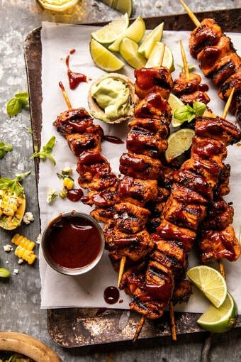 Spicy Beer BBQ Chicken Skewers with Avocado Corn and Feta Salsa | halfbakedharvest.com