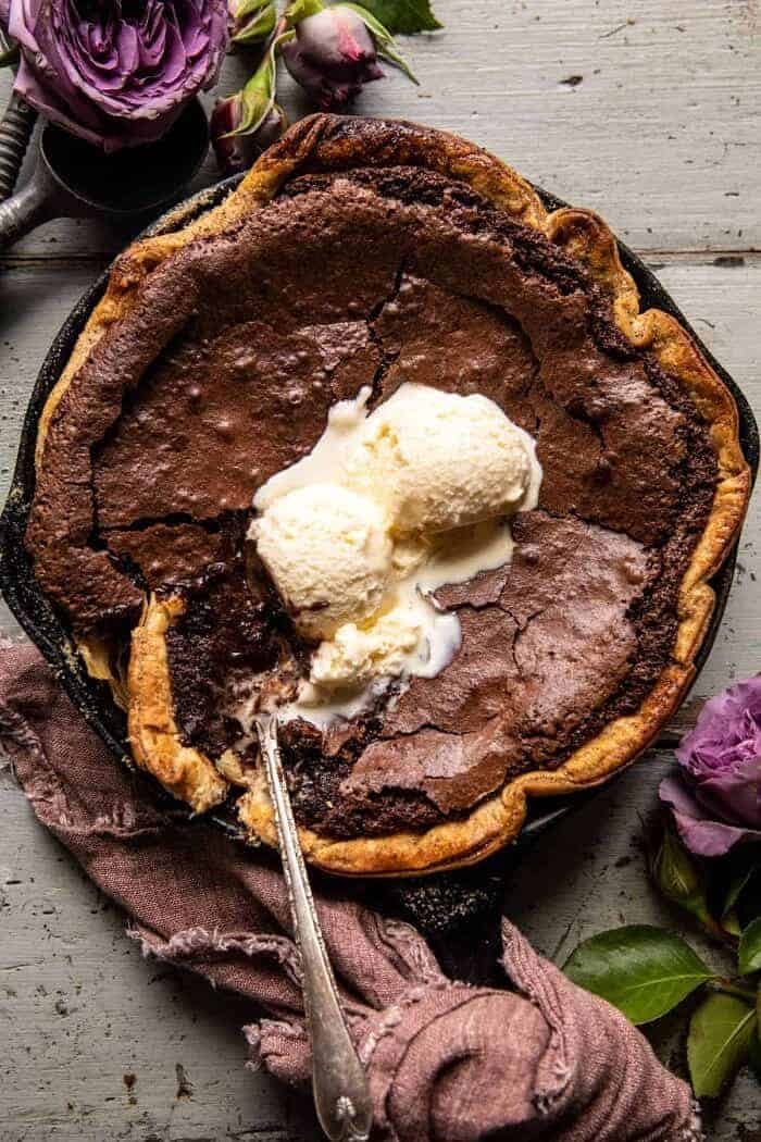 Warm Chocolate Fudge Skillet Cake.