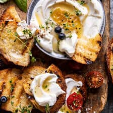 Whipped Ricotta Toast with Marinated Tomatoes and Lemon Thyme Honey | halfbakedharvest.com