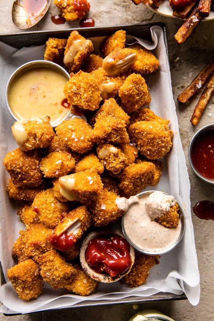 Better Than The Snack Bar Baked Chicken Nuggets...with all the sauces | halfbakedharvest.com