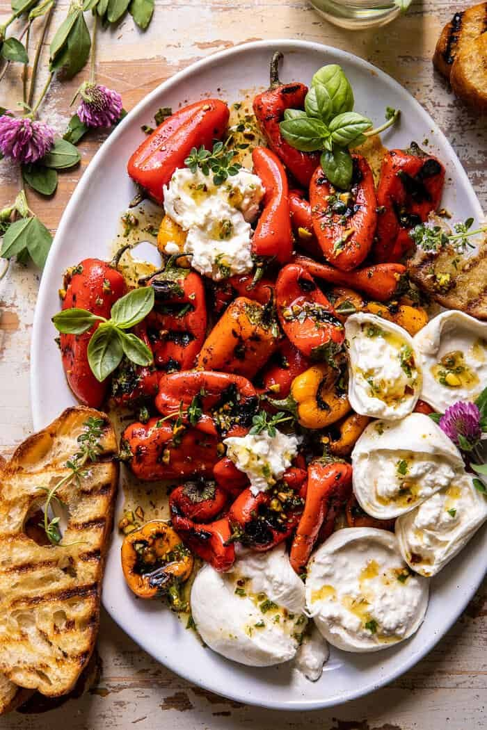 Charred Baby Bell Peppers with Burrata | halfbakednharvest.com