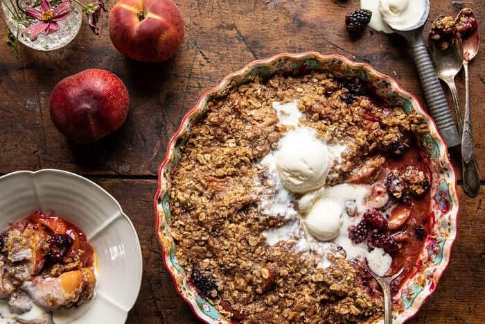 Cinnamon Maple Brown Butter Blackberry Peach Crisp | halfbakedharvest.com