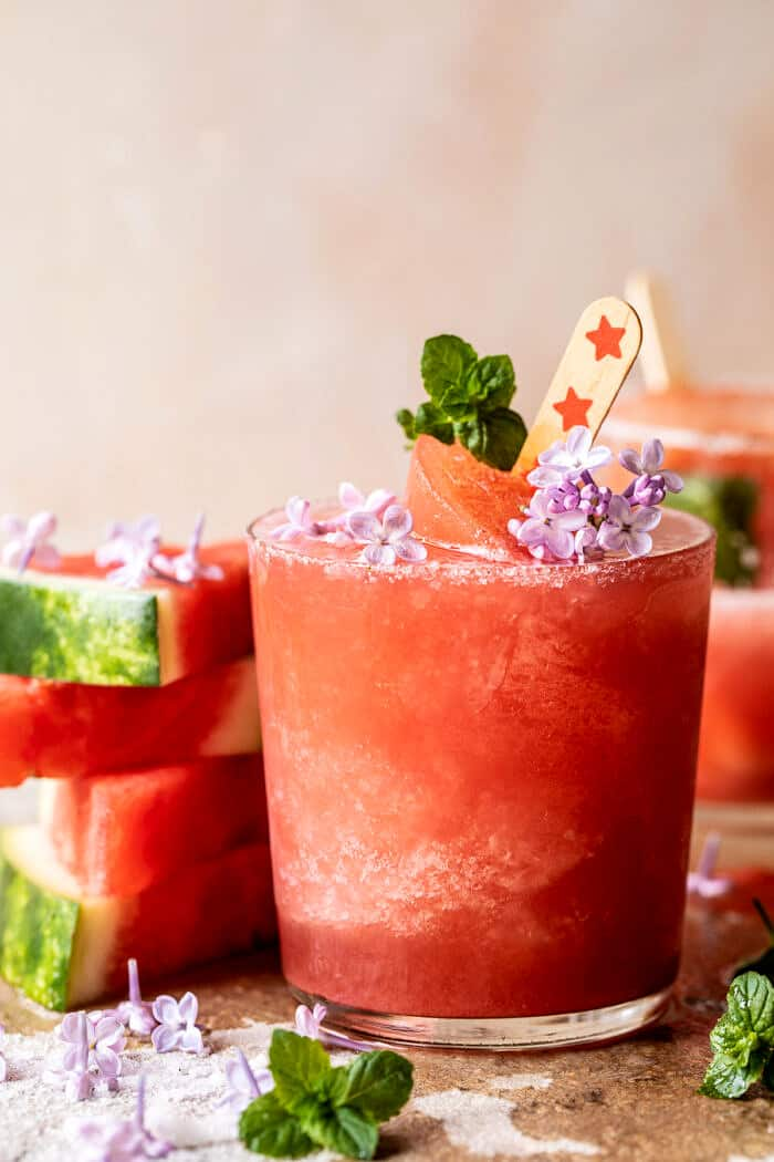Frosted Watermelon Rosemary Frosé | halfbakedharvest.com