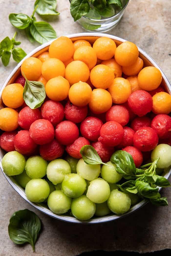 Marinated Mozzarella Melon Skewers   halfbakedharvest.com