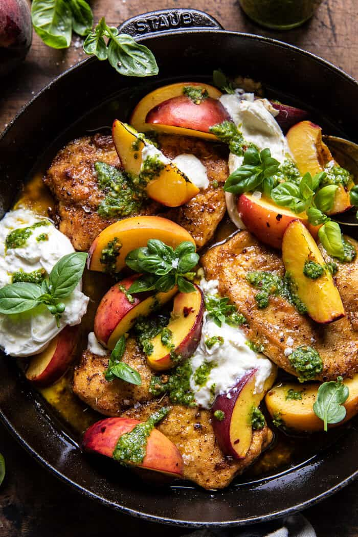 Pesto Peach Chicken in White Wine with Burrata | halfbakedharvest.com