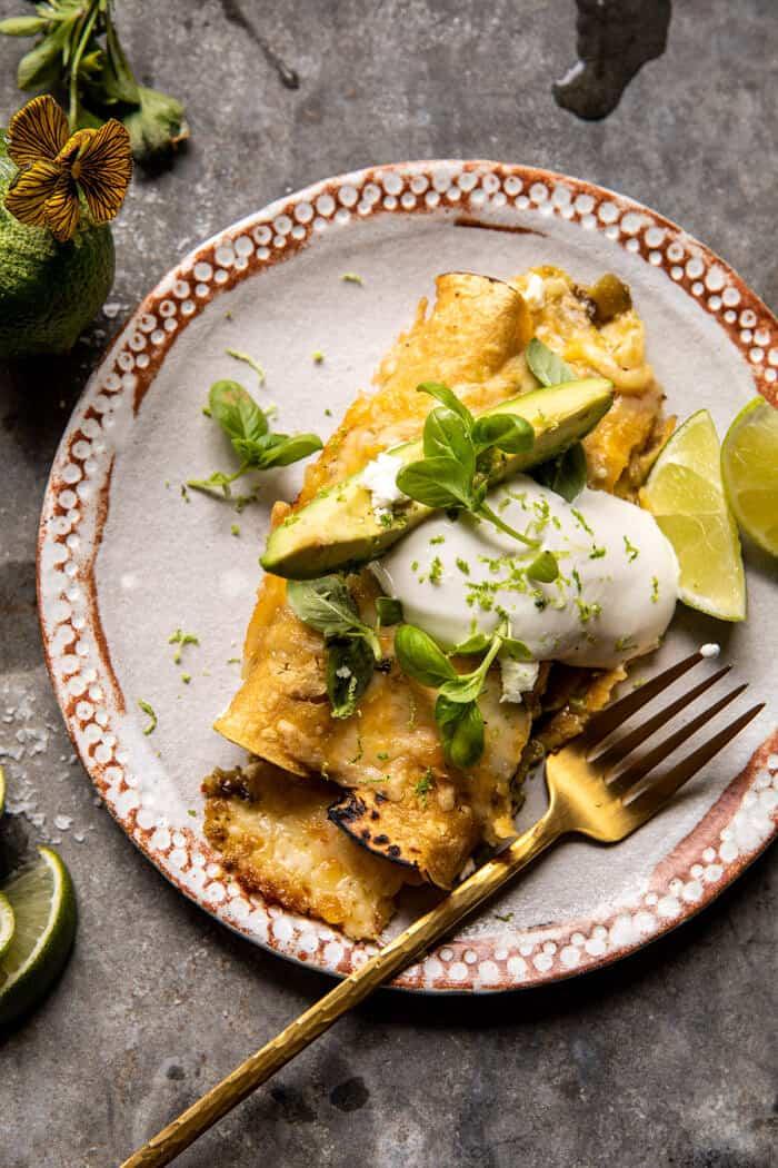 Sheet Pan Cheesy Poblano Corn Enchiladas | halfbakedharvest.com