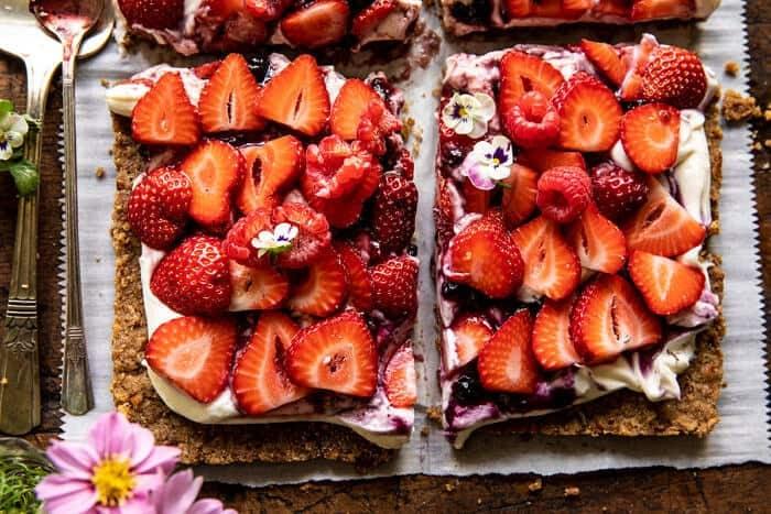 Simple Strawberry and Cream Rye Pretzel Tart | halfbakedharvest.com