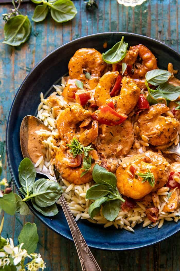 Spicy Southern Style Shrimp with Lemon Basil Orzo | halfbakedharvest.com