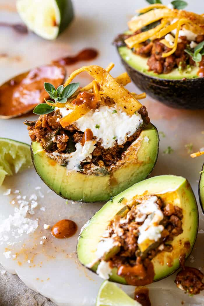 Taco Stuffed Avocados with Chipotle Sauce and Cilantro Lime Ranch | halfbakedharvest.com