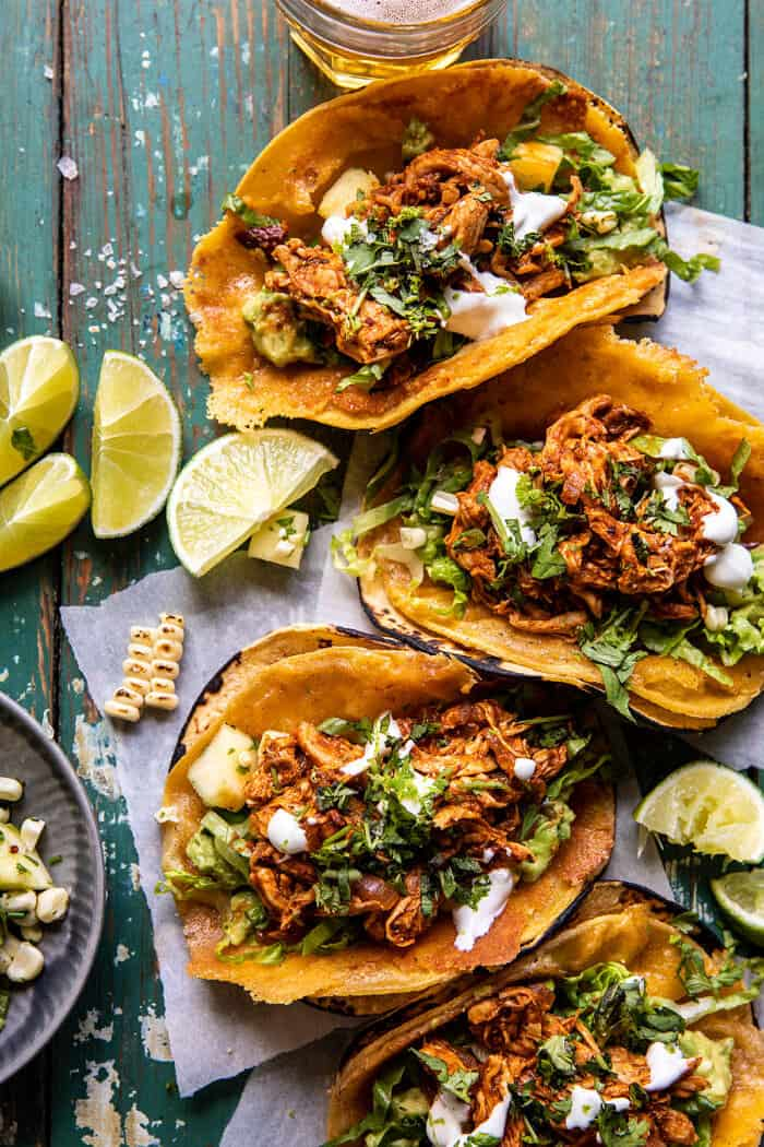 30 Minute Crispy Cheese Chicken Tinga Tacos with Pineapple Salsa | halfbakedharvest.com
