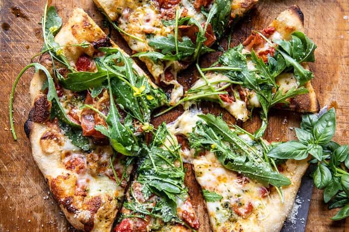 Arugula Tomato Cheese Pizza | halfbakedharvest.com