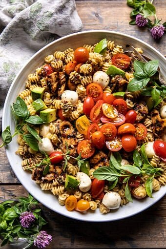 Caprese Chicken Pasta Salad | halfbakedharvest.com