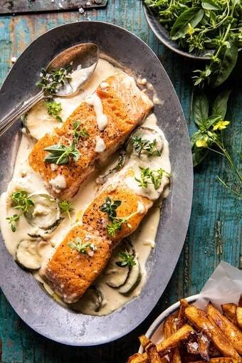 Creamed Feta Garlic Herb Butter Salmon | halfbakedharvest.com