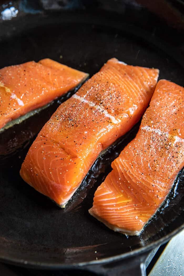 Creamed Feta Garlic Herb Butter Salmon   halfbakedharvest.com