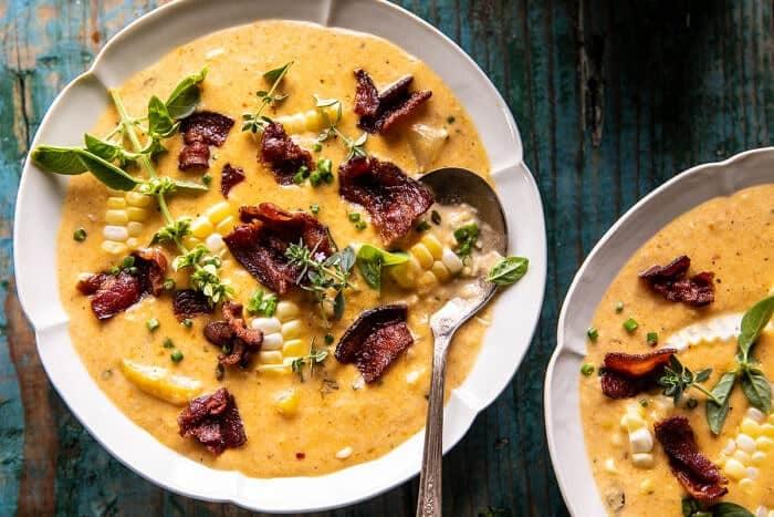 Creamy Corn, Zucchini, and Bacon Chowder | halfbakedharvest.com