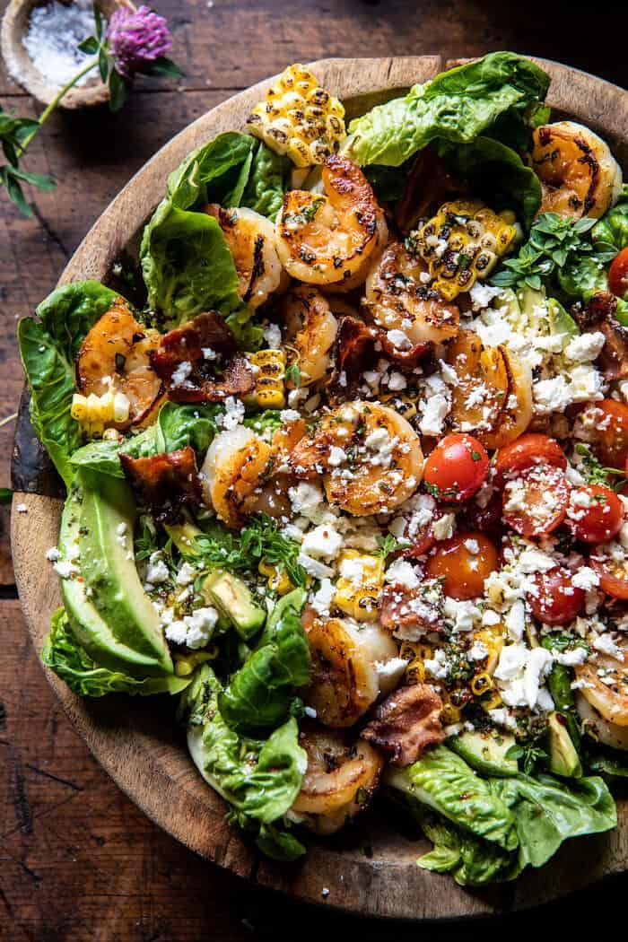Honey Garlic Shrimp, Corn, and Avocado Bacon Salad | halfbakedharvest.com