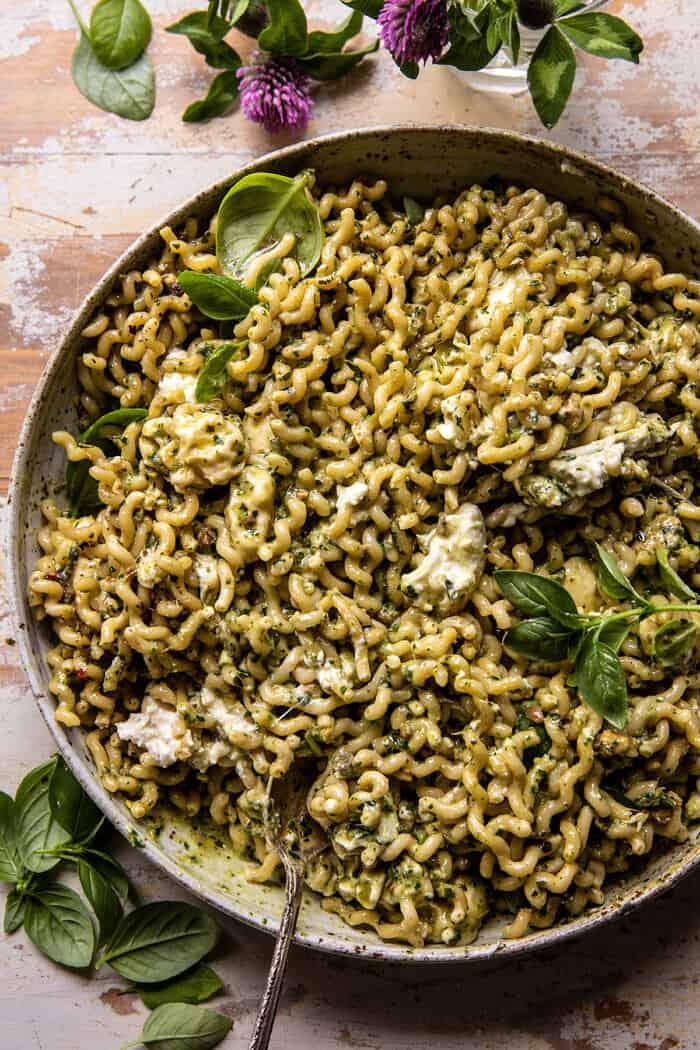 One Pot Melty Burrata Lemon Pesto Pasta | halfbakedharvest.com