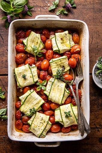 Pesto Cheese Zucchini Ravioli with Burst Tomatoes | halfbakedharvest.com