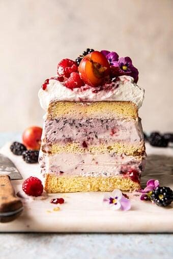 Swirled Berry Ice Cream Butter Cake | halfbakedharvest.com