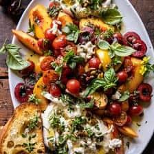 Tomato, Peach and Burrata Salad | halfbakedharvest.com