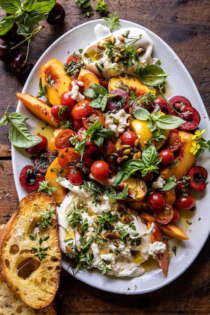 Tomato, Peach, and Burrata Salad.