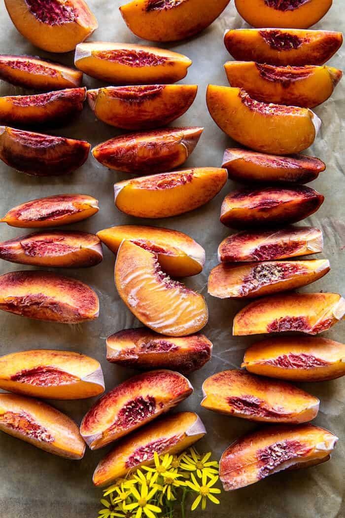 5 ingredient Raspberry Peach Sherbet | halfbakedharvets.com