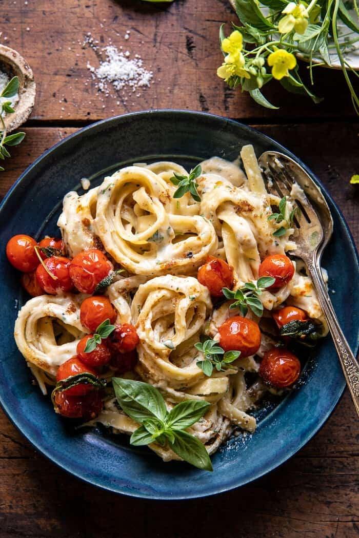 Brown Butter Cherry Tomato Fettuccine Alfredo | halfbakedharvest.com