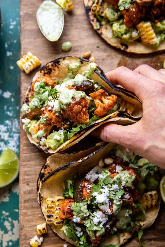Chipotle Cauliflower Tacos with Creamy Jalapeño Verde | halfbakedharvest.com