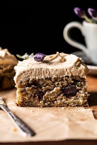 Chocolate Zucchini Banana Cake with Vanilla Coffee Frosting | halfbakedharvest.com