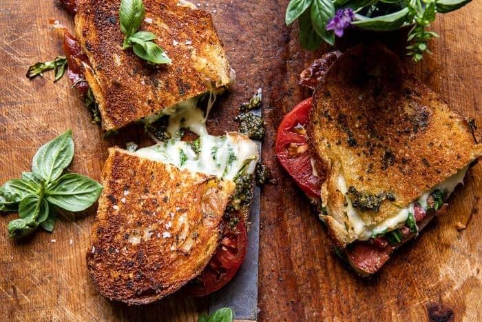 Crispy Prosciutto, Sage Pesto, and Tomato Grilled Cheese | halfbakedharvest.com