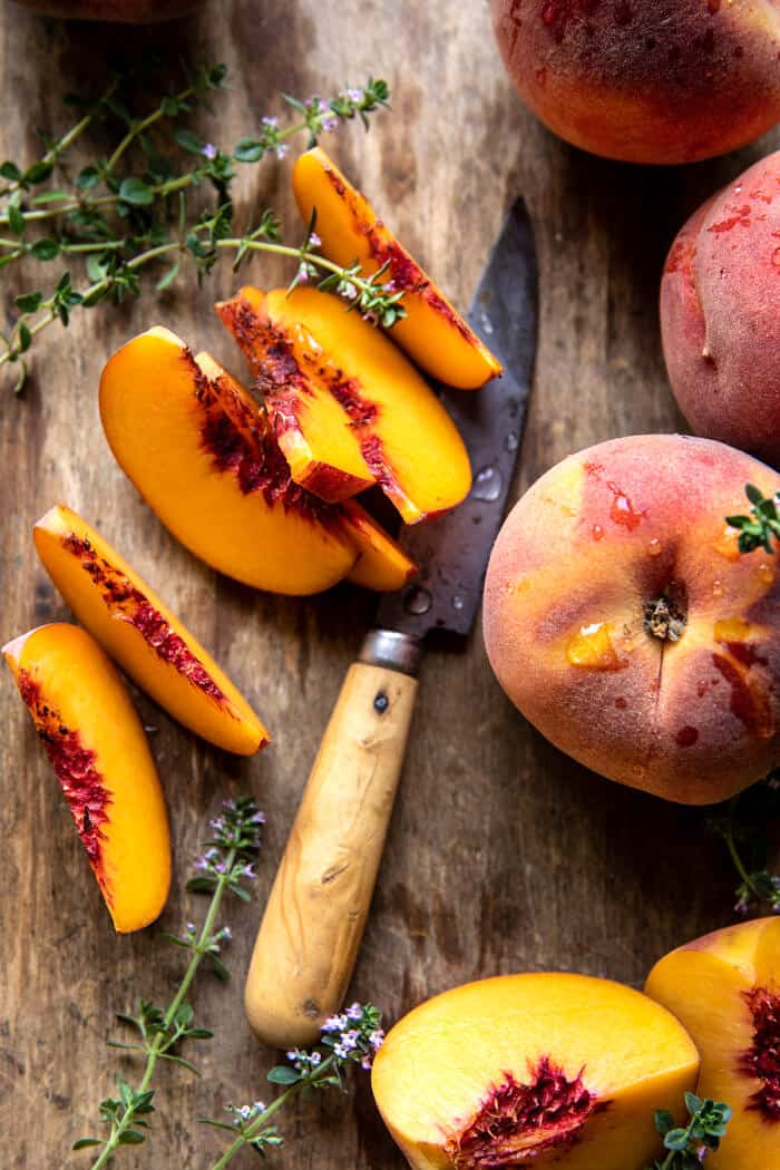 Frozen Peach Rosé Slushy | halfbakedharvest.com
