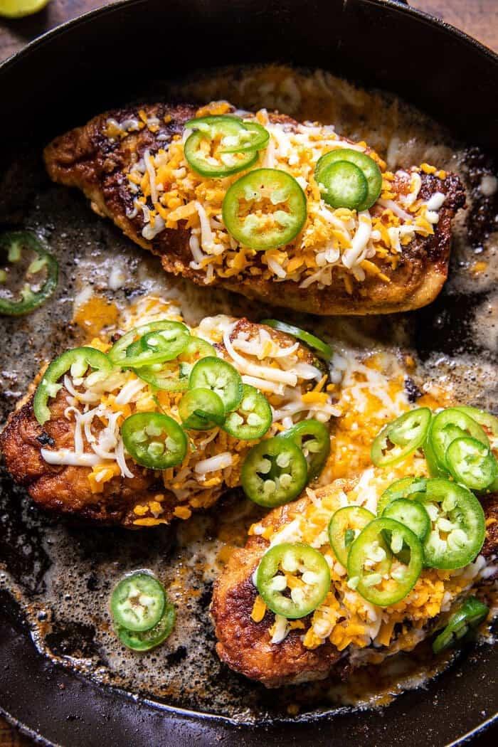 Jalapeño Cheddar Stuffed Chicken with Creamed Corn | halfbakedharvest.com