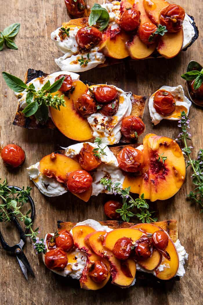 Peach Burrata Crostini with Burst Cherry Tomato Vinaigrette | halfbakedharvest.com
