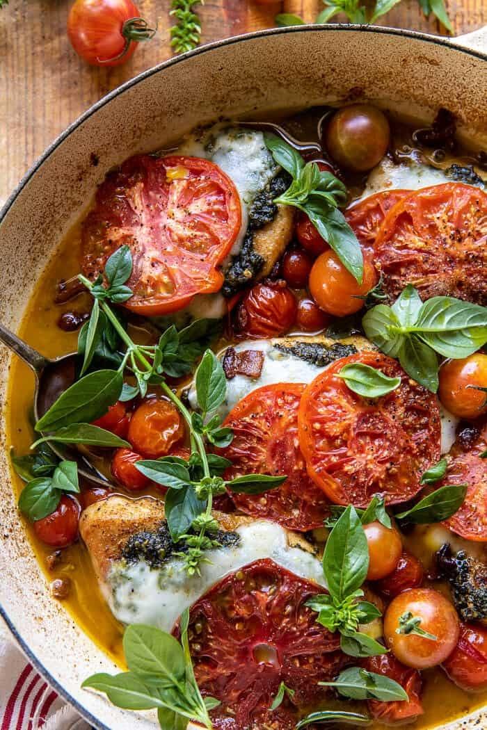 Pesto Caprese Chicken in White Wine Pan Sauce | halfbakedharvest.com
