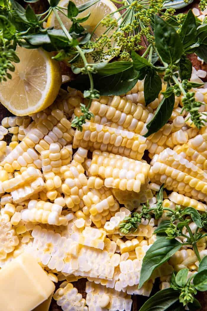 Spicy Garlic Lemon Butter Shrimp with Parmesan Corn Polenta | halfbakedharvest.com