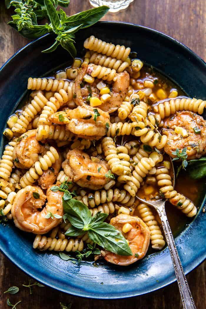 Spicy Lemon Butter Shrimp Scampi with Herbed Corn | halfbakedharvest.com