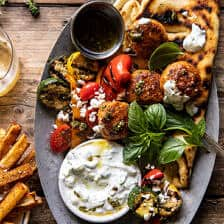 Spicy Oregano Meatballs with Grilled Vegetables and Tzatziki | halfbakedharvest.com