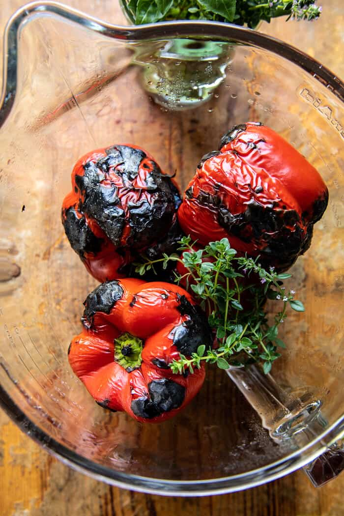 Spicy Pesto Cheese Stuffed Roasted Red Peppers | halfbakedharvest.com