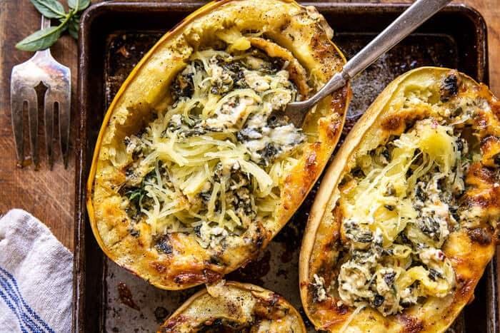 4 Cheese Roasted Garlic Alfredo Stuffed Spaghetti Squash   halffbakedharvest.com