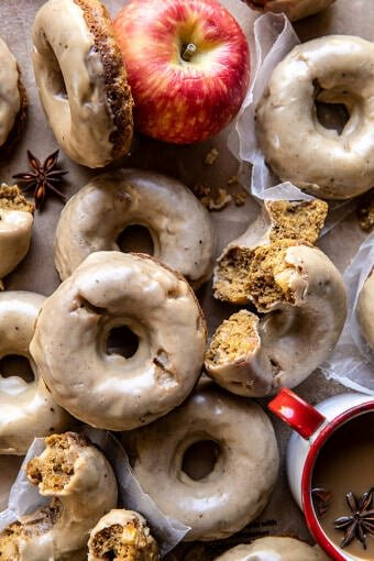 Baked Apple Cider Doughnuts with Cinnamon Maple Glaze | halfbakedharvest.com