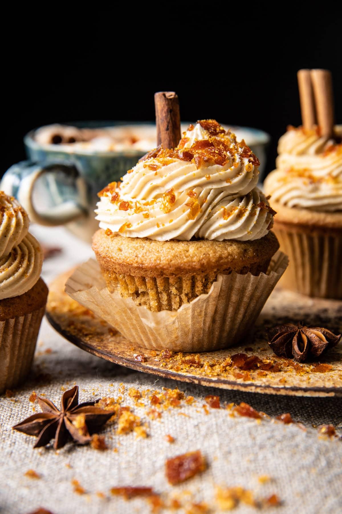 Chai Latte Cupcakes with Caramel Brûlée Frosting | halfbakedharvest.com