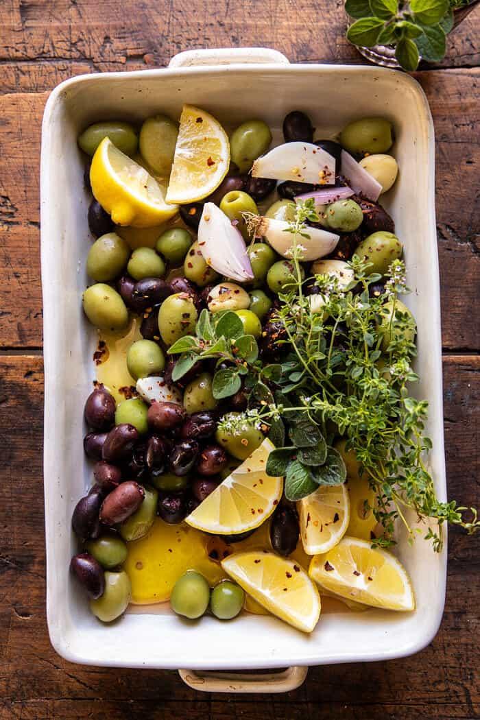 Honey Whipped Feta with Garlic Herb Roasted Olives | halfbakedharvest.com