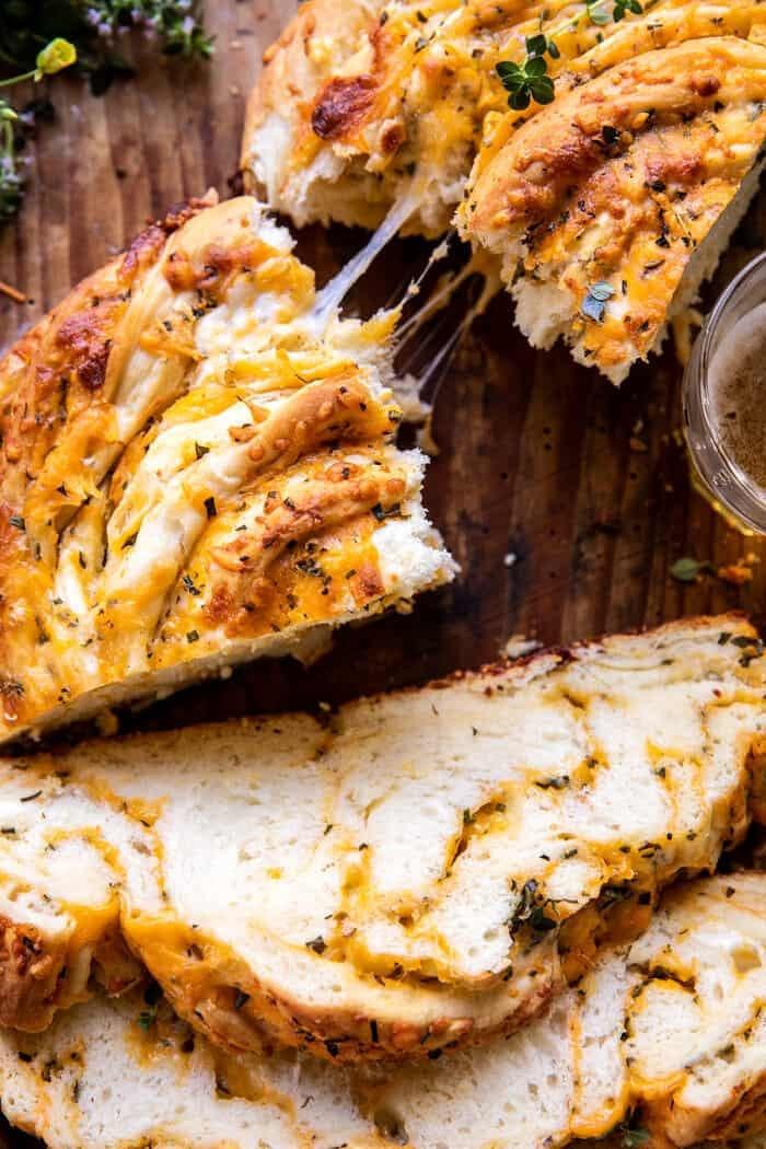 Soft Garlic Herb Cheddar Cheese Bread | halfbakedharvest.com