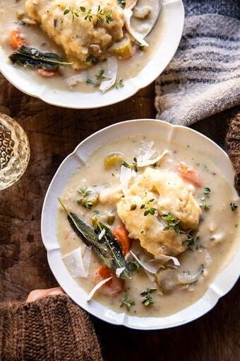 30 Minute Creamy Chicken and Parmesan Sage Dumplings | halfbakedharvest.com