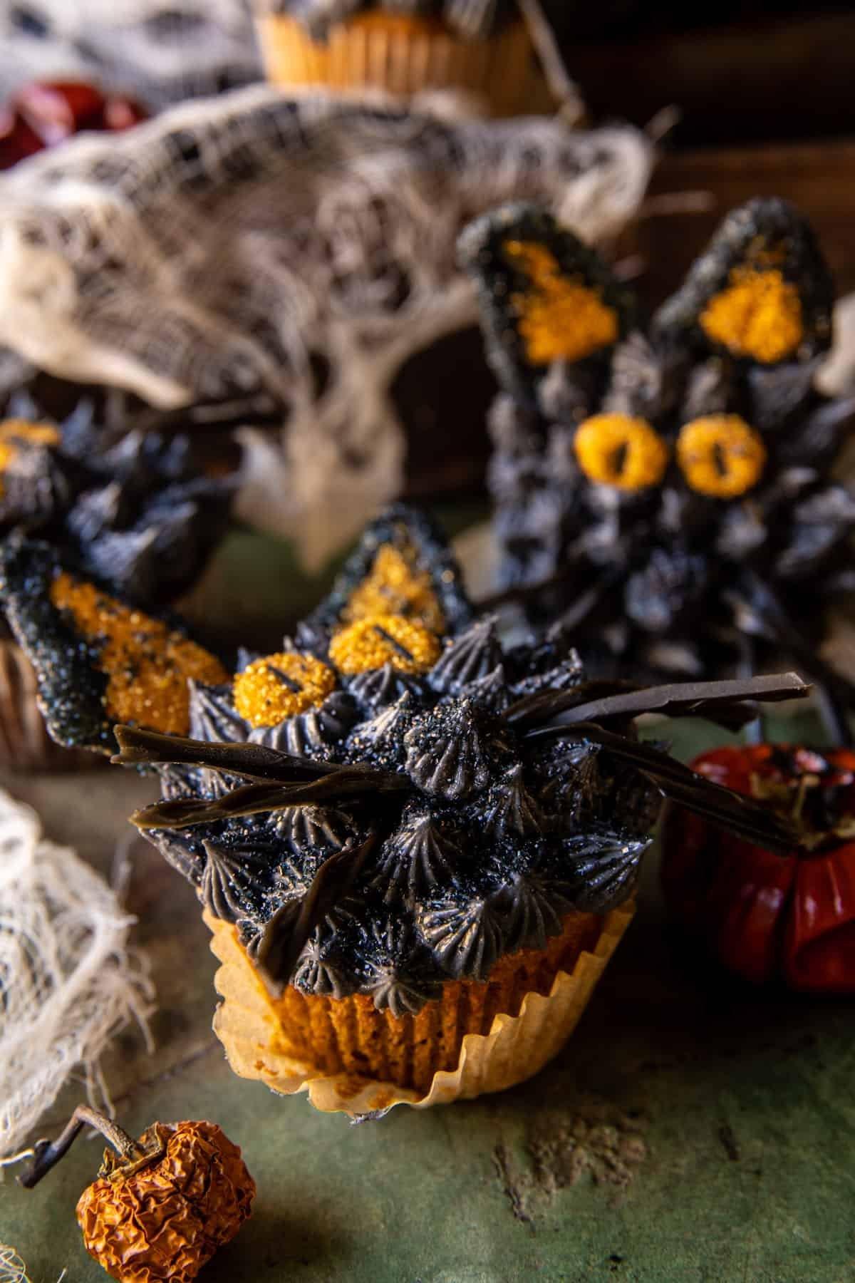 Black Cat Pumpkin Cupcakes | halfbakedharvest.com